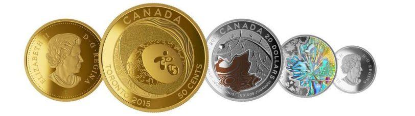 El hermoso set de las tres monedas panamericanas.