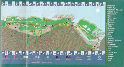 El plano del Corredor Olímpico para el proyecto Buenos Aires 2004.